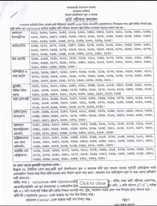 Admission Result, Class Nine-2nd shift